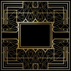Geometric template vector frames. Shapes of retro style. Line design. You can use it for invitation of posters, flyers, party, advertising. Collage collection of gold shapes.