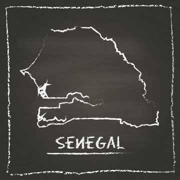 Senegal outline vector map hand drawn with chalk on a blackboard. Chalkboard scribble in childish style. White chalk texture on black background.