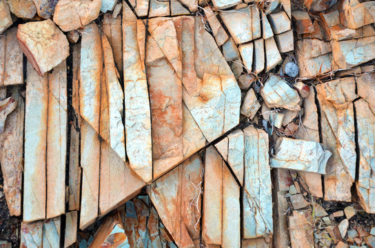 Natural abstract patterns and textures in fractured rock