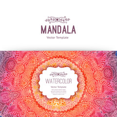 Watercolor mandala, lace ornament made of round pattern in oriental style.