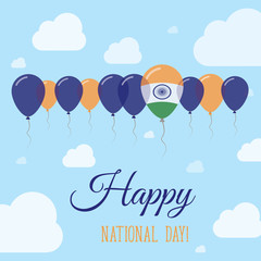 India National Day Flat Patriotic Poster. Row of Balloons in Colors of the Indian flag. Happy National Day Card with Flags, Balloons, Clouds and Sky.