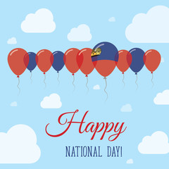 Liechtenstein National Day Flat Patriotic Poster. Row of Balloons in Colors of the Liechtensteiner flag. Happy National Day Card with Flags, Balloons, Clouds and Sky.