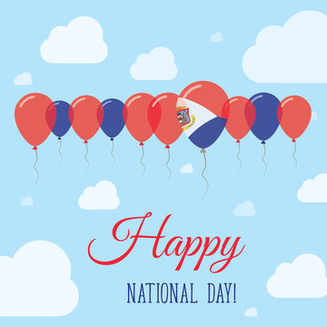 Sint Maarten National Day Flat Patriotic Poster. Row of Balloons in Colors of the Dutch flag. Happy National Day Card with Flags, Balloons, Clouds and Sky.