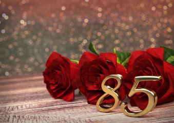 birthday concept with red roses on wooden desk. eightyfifth. 85th. 3D render
