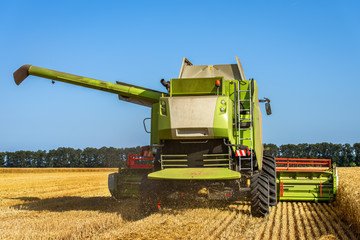 Fototapete - Green combine and blue sky.