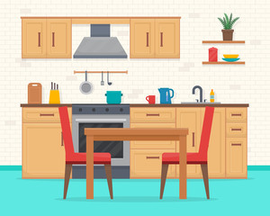 Kitchen with furniture set.