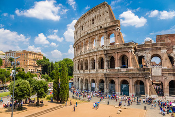 Colosseum with clear blue sky and clouds, Rome,Italy