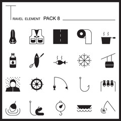 Travel Element Graph Icon Set 8.Camping thin icons.Mono pack.Gra