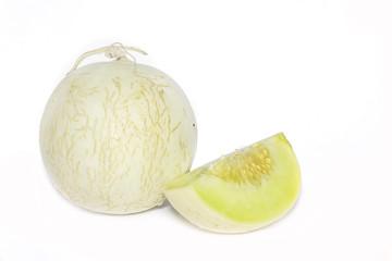 cantaloupe melon on the white background.