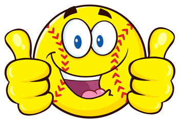 Happy Softball Cartoon Character Giving A Double Thumbs Up