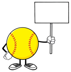 Softball Faceless Cartoon Mascot Character Holding A Blank Sign