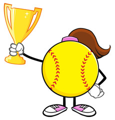 Softball Girl Faceless Cartoon Character Holding A Trophy Cup