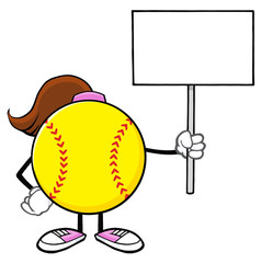 Softball Girl Faceless Cartoon Mascot Character Holding A Blank Sign