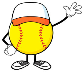 Softball Faceless Cartoon Mascot Character With Hat Waving For Greeting