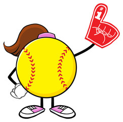 Softball Girl Faceless Cartoon Mascot Character Wearing A Foam Finger