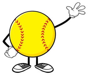 Softball Faceless Cartoon Mascot Character Waving For Greeting