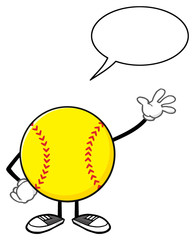 Softball Faceless Cartoon Mascot Character Waving For Greeting With Speech Bubble
