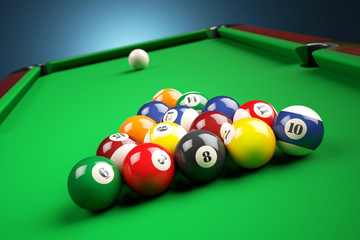 Snooker billiard pyramid on green table. 3d illustration