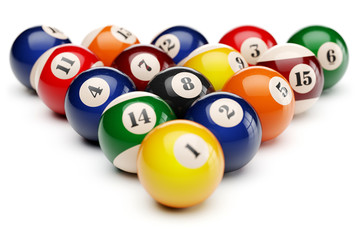 Snooker billiard balls pyramid isolated on white background 3d