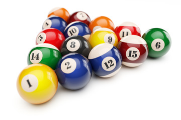 Pool billiard balls pyramid isolated on white background 3d