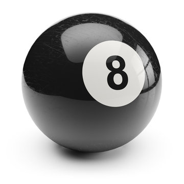 Billiard black eight ball. Isolated on white background 3d