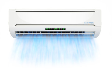 Air conditioner with cold blue airflow isolated on white backgro