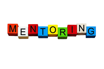 Mentoring - business sign for coaching, mentors, business gurus. Isolated.