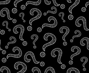 Math vector seamless endless texture with question signs
