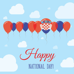 Croatia National Day Flat Patriotic Poster. Row of Balloons in Colors of the Croatian flag. Happy National Day Card with Flags, Balloons, Clouds and Sky.