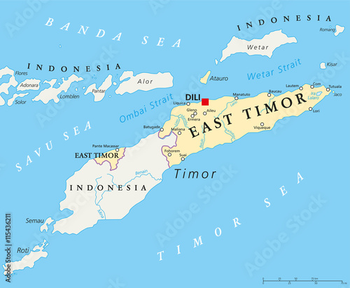 East Timor political map with capital Dili national borders