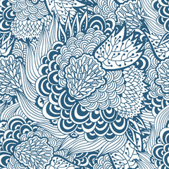 Seamless delicate floral pattern, monochrome vector background
