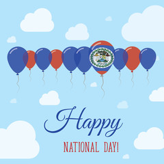 Belize National Day Flat Patriotic Poster. Row of Balloons in Colors of the Belizean flag. Happy National Day Card with Flags, Balloons, Clouds and Sky.