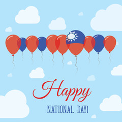Taiwan, Republic Of China National Day Flat Patriotic Poster. Row of Balloons in Colors of the Taiwanese flag. Happy National Day Card with Flags, Balloons, Clouds and Sky.