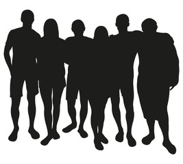 Group of Friendly Persons or Team. Vector Silhouette