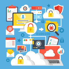 Cloud computing, cloud storage flat design concepts. Modern graphic elements and icons set. Vector illustration
