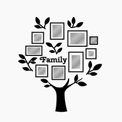 Memories tree with picture frames. Insert your photo into template frames. Collage vector illustration