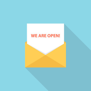 """""""We are open"""" letter, email or message. Flat style vector Illustration."""