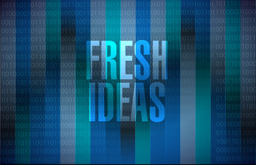 Fresh Ideas binary background sign concept