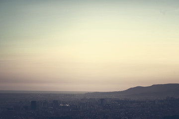 A bird view over city in sunset. Barcelona, Catalonia, Spain. Ni