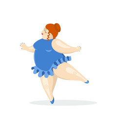 Vector illustration with very big and nice ballerina. Fat ballet dancer.