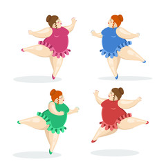 Vector illustration with very big and nice ballerinas. Fat ballet dancers.