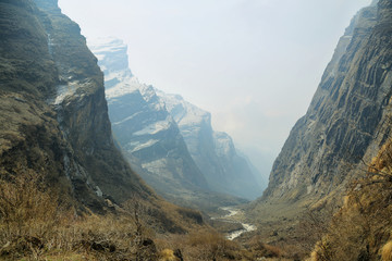 Rocky peaks and river flowing in Nepal
