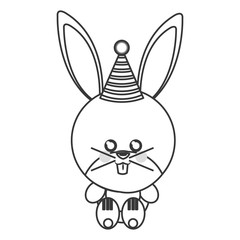 cute baby rabbit with hat party isolated vector illustration