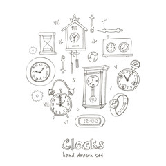 Set of doodle sketch clocks and watches
