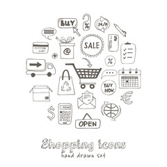 Set of doodle sketch shopping icons
