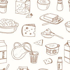 Seamless pattern with Dairy products hand drawn decorative icons set vector illustration