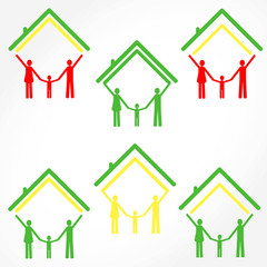 family and home, color vector illustration