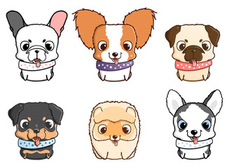 Set of cartoon puppies. Vector illustration isolated on white. Rottweiler, siberian husky, pug, pomeranian, french bulldog, papillon