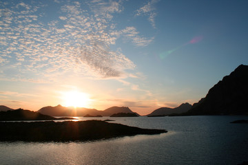 Midnight Sun in Lofoten islands, Norway
