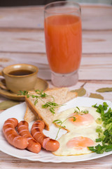 Traditional fried eggs and coffee breakfast